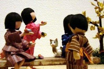 可爱的日本女孩儿,当然也少不了猫咪