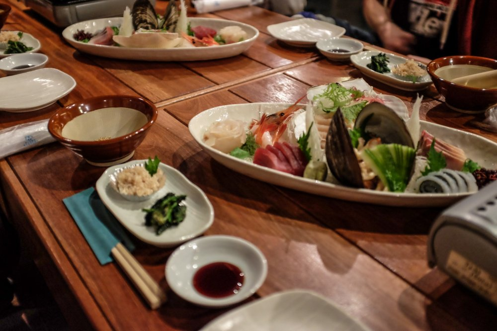 In true Japanese style, the tables are prepared and immucately set out before you arrive