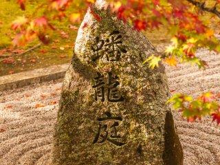 蟠龍庭の白砂に落ちる楓は、水に流れる紅葉さながら。なんとも風情がある