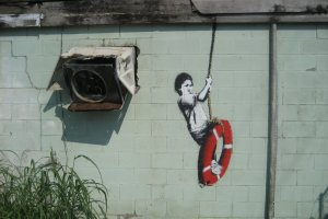 One of Banksy's works in New Orleans