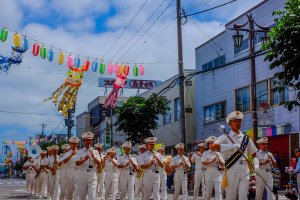 Kutchan Ekimae Dori is decorated in traditional style during the weekend event