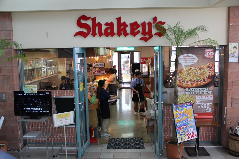 Shakey's Pizza has been in Kadena Town for 40 years; originally it was in a stand alone restaurant but is now a tenant inside the sprawling Navel Kadena shopping Center