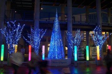 sci-fi Christmas tree of crystal blue