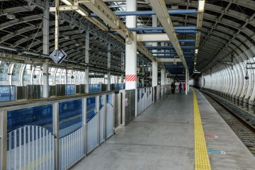 The Shinkansen platforms are clean, convenient and very wide