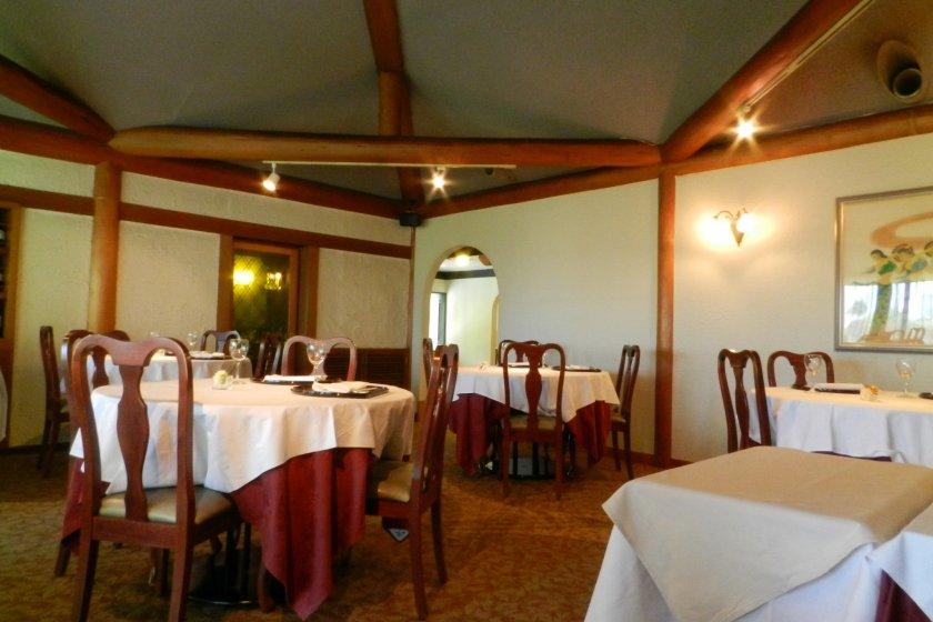 The spacious, elegant dining room.