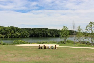 The village is set around Miyazawa lake. All the shops and restaurants have a view of the lake. You can enjoy the view from the green area in front of the lake too. There are some seats that people can use for free.