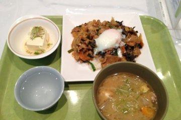 中午在东大食堂吃了这个套餐。才480日元哦。