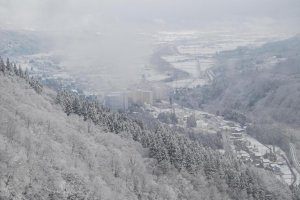 View of Yuzawa Onsen from the top of the mountains.