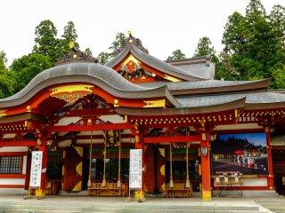 The impressive main hall is typical of all Hachiman Shrines