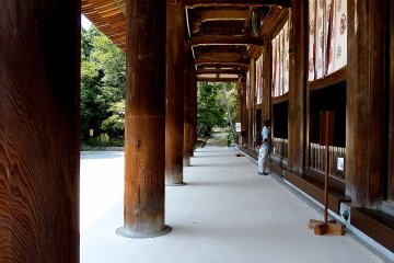 The eight beautiful wooden columns supporting Kondo Hall