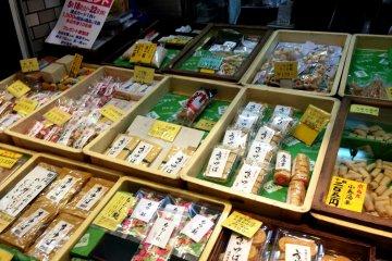 Kyo Yuba and Musubi Yuba or tied tofu skin at Nishiki Food Markets
