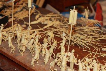 <p>Bamboo figurines, a work in progress.</p>
