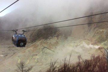 Hakone Ropeway, yellow sulphur and volcanic activity