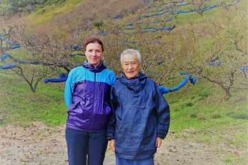 Mr. Ishigami is a local ume farmer, seen here with the author who lives nearby
