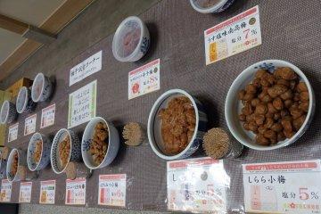 Umeboshi tasting station at the Nakata Food showroom