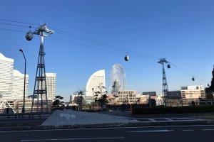 Yokohama Air Cabin with a view of Yokohama's giant Ferris wheel, Cosmo Clock 21.