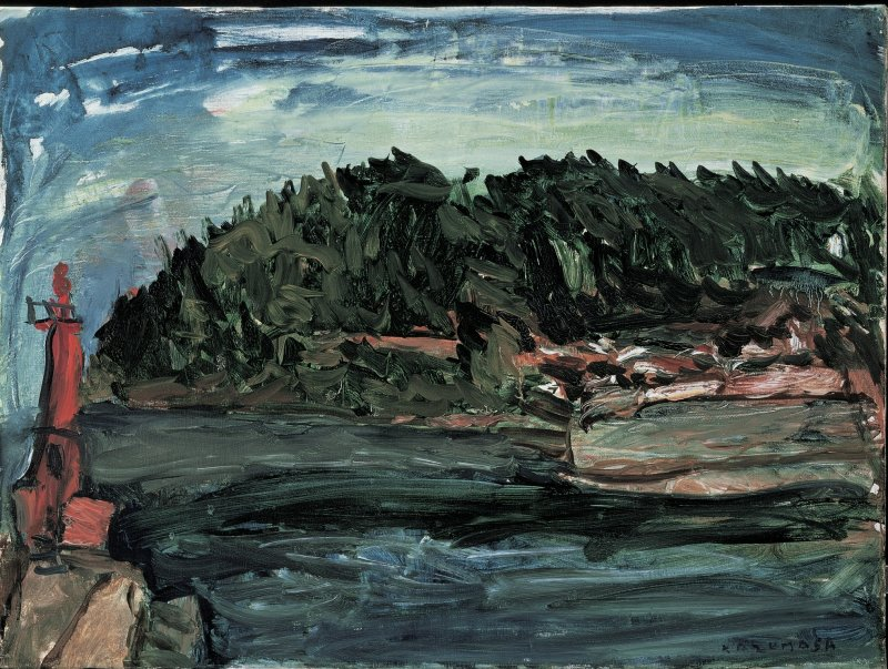 "Nakagawa's painting ""Lighthouse at Manazuru"""