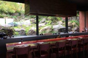 Counter seats and rock garden view through the window