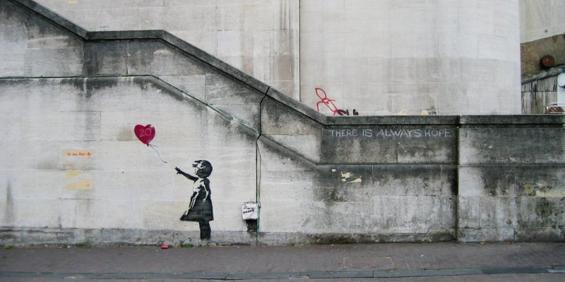One of Banksy's iconic street art pieces