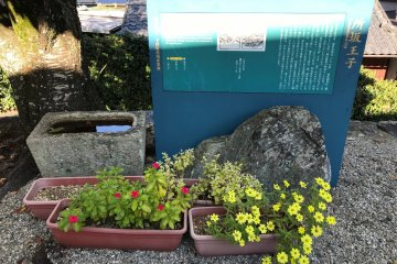 A small signboard reminds us that the Kumano Kodo trail is running along here.