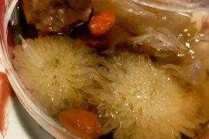 "Close up of flowering tea ""Liu bao ba bao cha"""