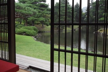 Looking out over the pond from the teahouse