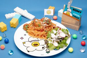 The event includes a variety of main dishes, such as spaghetti and meatballs
