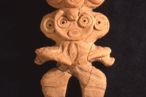 A clay figurine found from an archaeological dig