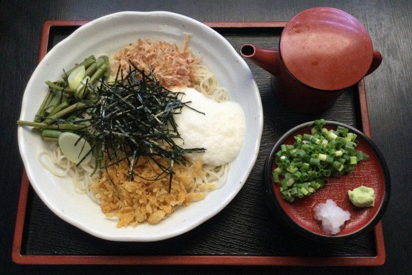 Chilled Shinshu soba with sansai mountain vegetables and tororo ground yam
