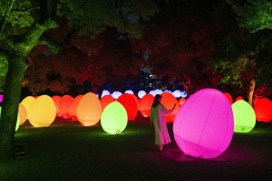 """Colorful """"eggs"""" and spheres will decorate the grounds"""