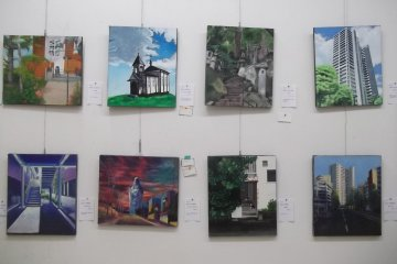 Paintings by local students in the Kenmin Gallery