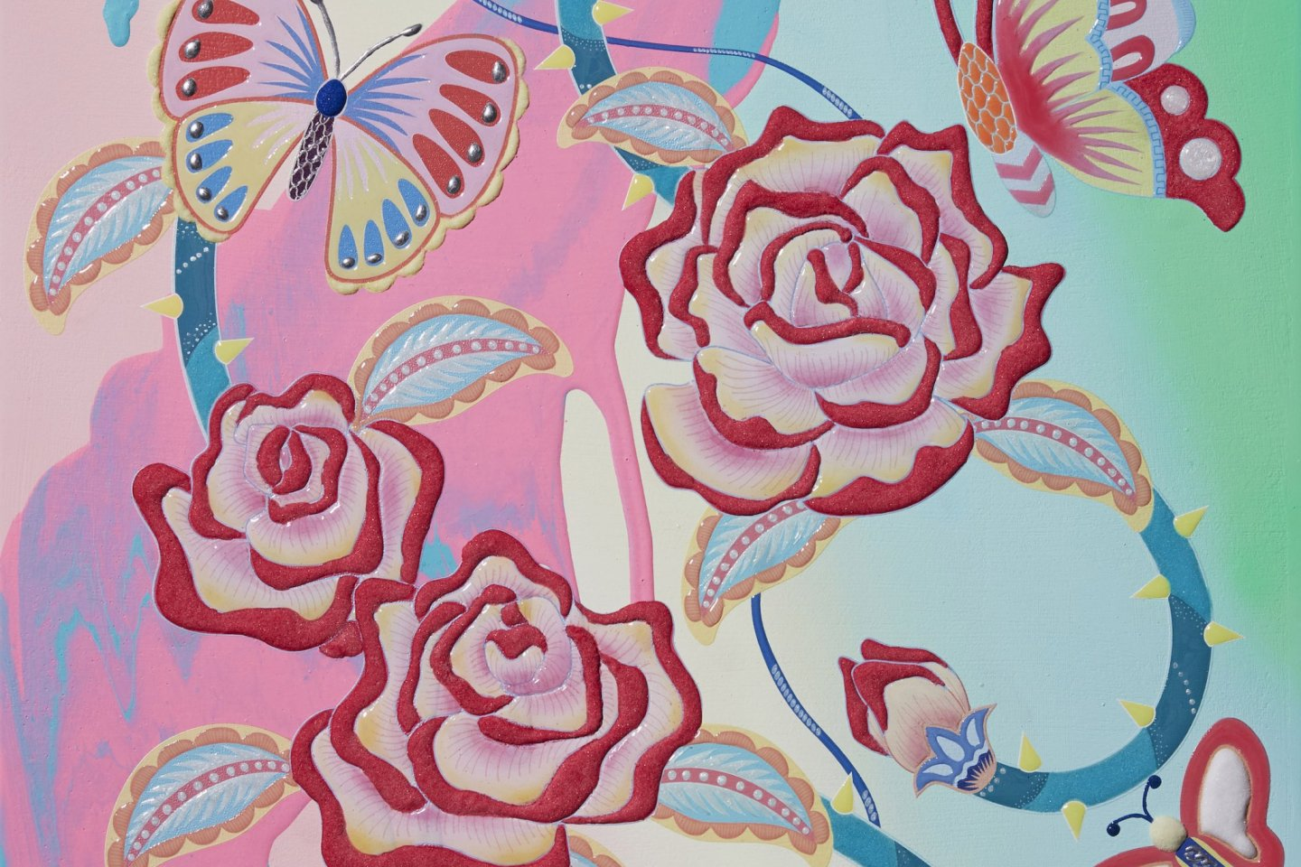 Many of the works on display will feature nature-based motifs, including flowers, birds, and butterflies
