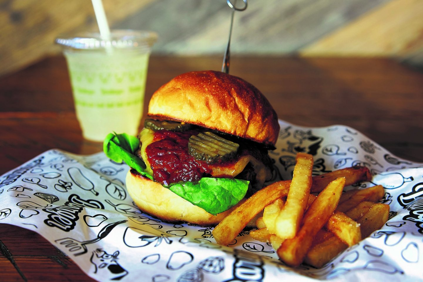 Burgers, chicken and waffles, and decadent thick shakes are some of what\'s on offer
