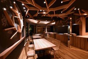 The sleek dining area