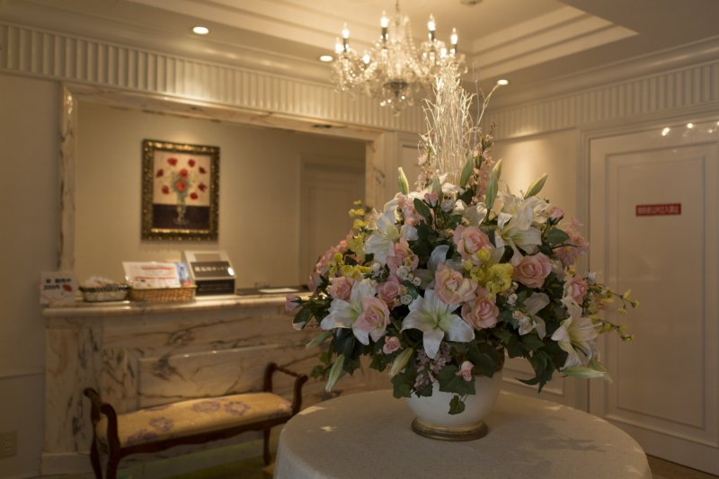 <p>The large bouquet of flowers is a welcoming sight</p>