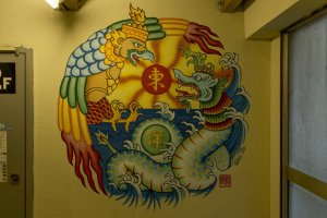 There are large murals on many of the walls making the building very interesting