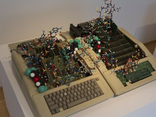 Obsolete computer equipment gains new life in this intriguing sculpture