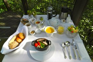 Breakfast on the private terrace. What a delightful way to start the day!