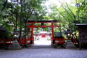 Traditional Red Torii Gateat Oharano Shrine in the hills behind Kyoto