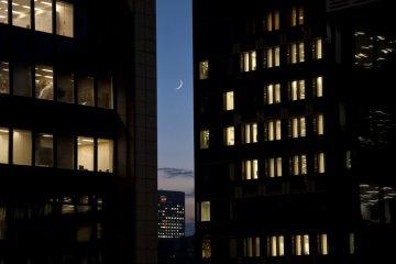밤이 되었고 달이 떳다