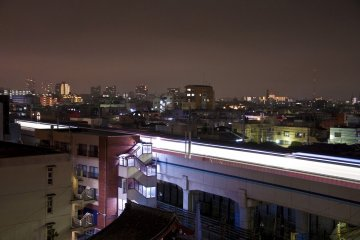 Facing Southwest again: Light trail of the train passing through Kamata