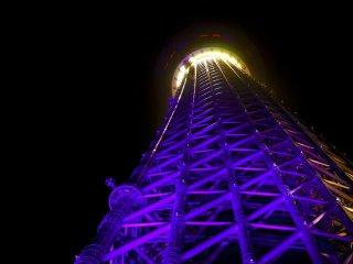 Tokyo Skytree tower in purple
