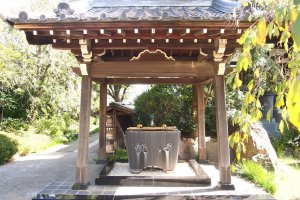 A purification trough, seen at most Japanese shrines.