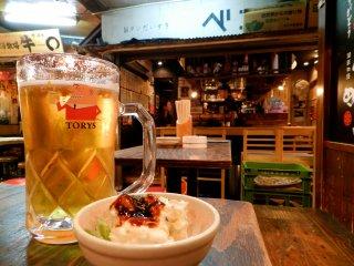 Otsukare beer at Ebisu Yokocho.