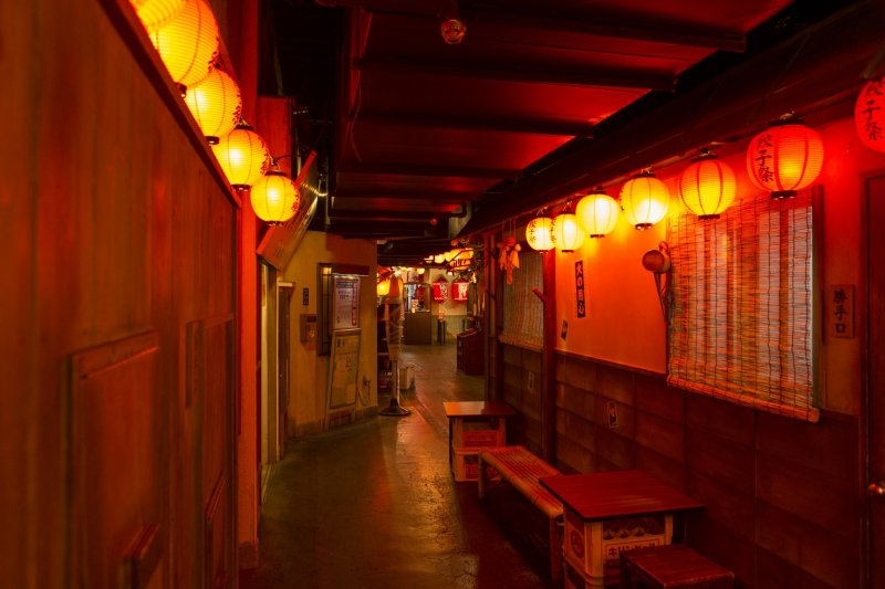 The park has several themes. This seemed like Golden Gai in 50's for me
