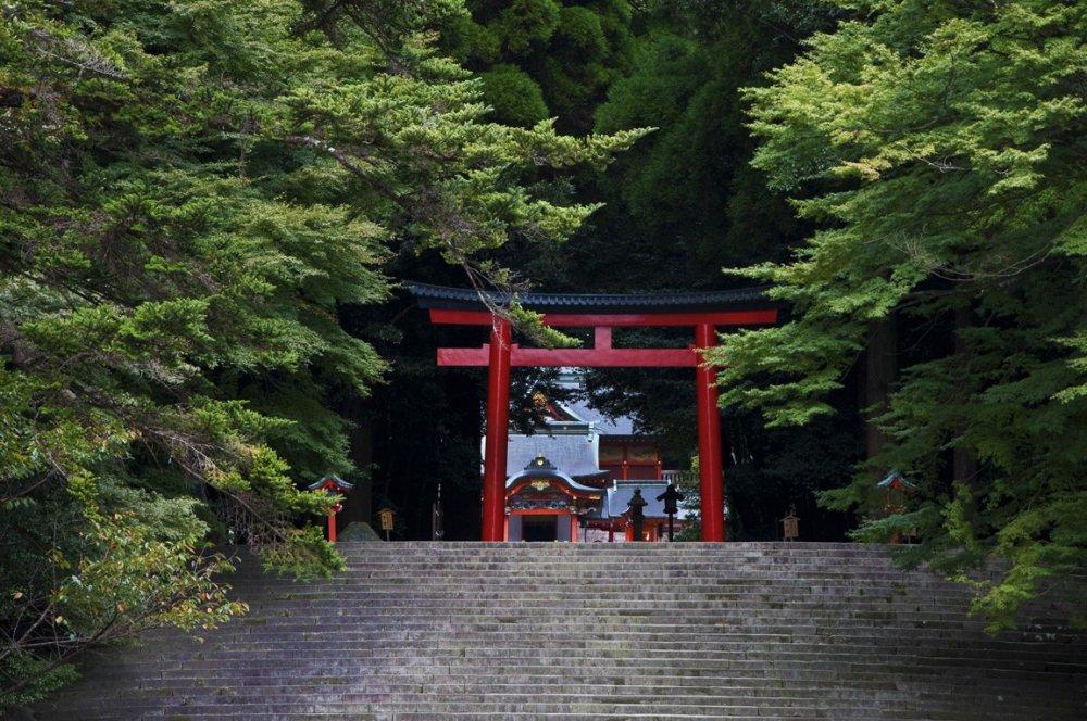 Torii gate marking the approach and entrance to Kirishima shrine