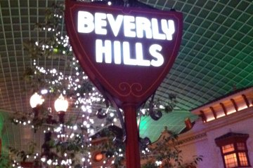A replica Beverly Hills sign inside the park at Universal Studios Japan