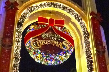 The Universal Wonder Christmas decorations at the grand main entrance