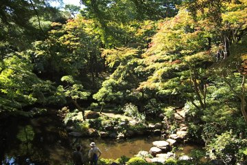 The leaves are turning yellow and red over the Jiro Benten Pond.