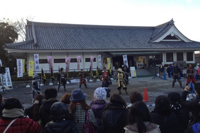 Ieyasu and the Mikawa Bushi perform in front of the museum.